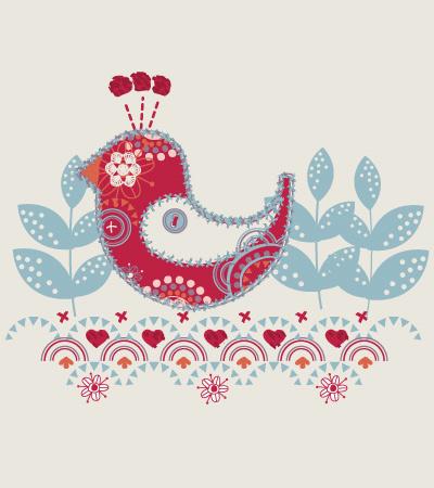 Bird-embroidered