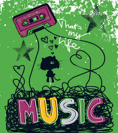 Tape-rock-music-cute-vector-design-for-girl-clothes