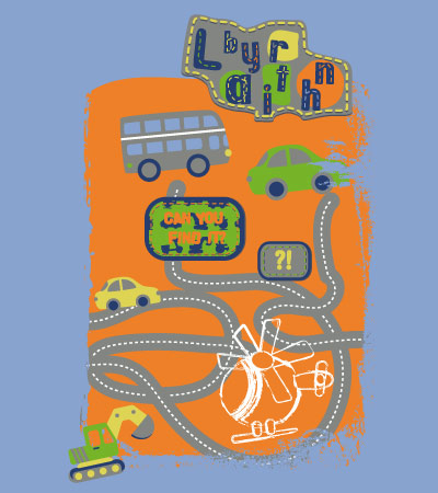 Bus-digger-labyrinth-fashion-design-vector