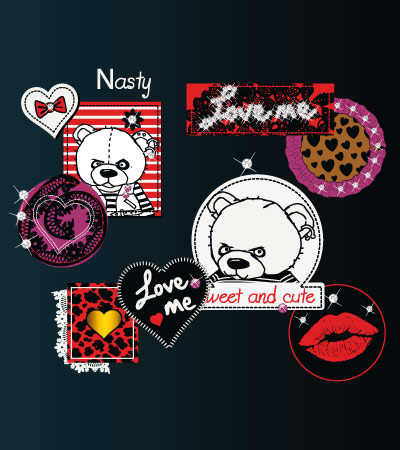 Many-teddy-patches-cute-vector-tshirt-design