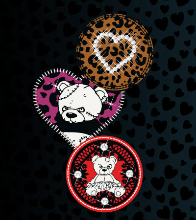 Patterns-patches-bear-cute-vector-tshirt-design