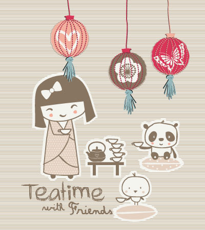 Tea-time-girl-vector