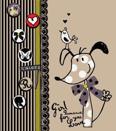 Funny-dog-baby-girl-textile-art-春夏童装设计手稿