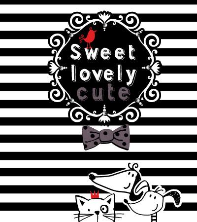 Lovely-cat-dog-baby-girl-textile-art春夏童装设计手稿