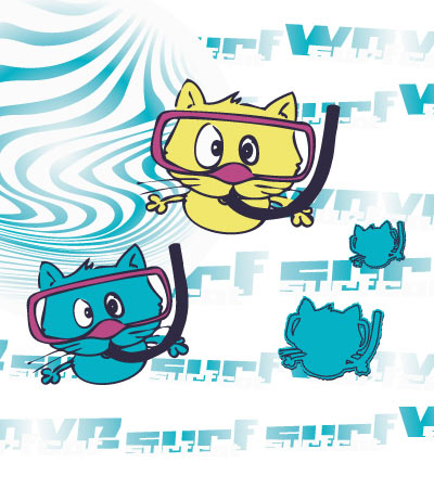 Diving-cats-childrens-s-clothing-illustrations