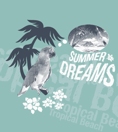 Parrot-beach-girl-fashion-illustration