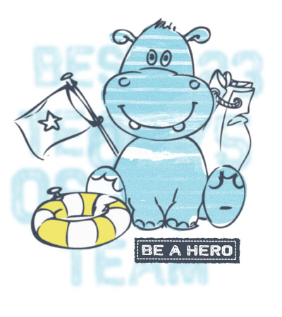 Be-a-hero-hippo-art-for-baby-clothing