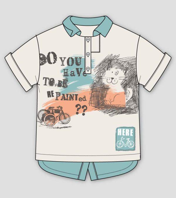 Cute-cat-polo-shirt-flat-sketch
