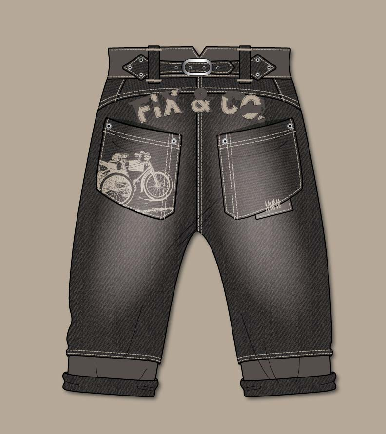 Trousers Jeans Flat Sketch Kidsfashionvector Cute