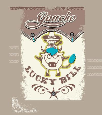 Lucky-bill-Gaucho-cute-vector-illustration