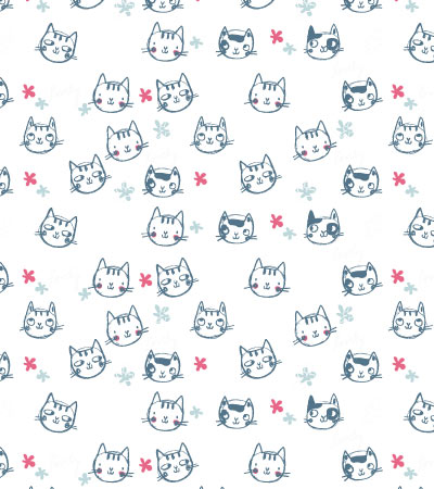 Hand-drawn cat pattern | Kidsfashionvector | cute vector ...